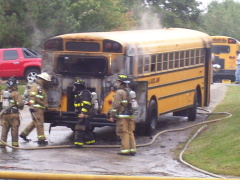 Pleasant Valley School bus on fire!