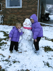 Laney and Anna's 1st snowman
