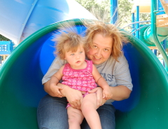 Crazy hair from the slide!