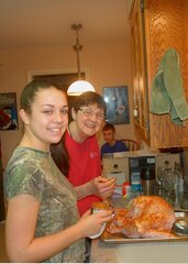 grandma,  granddaughter and turkey