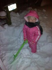 Helping Grannie Shovel!