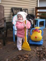 Her first time helping with the raking