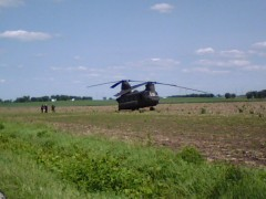 Rapid landing of a helicopter in Pekin.