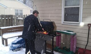 Mike grilling in the snow
