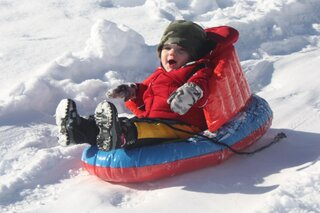 1 year old Tytan's first time sledding!