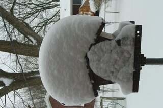 A snowy top hat crowns the feeder