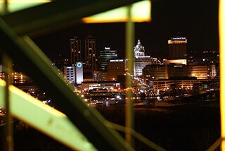 Skyline from behind E. Peoria wreath