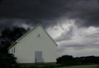 The Country Church Awaiting The Storm.