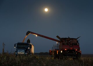 Harvest Moon Near Anchor, Illinois