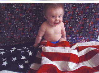 Excited about his first Fourth of July.