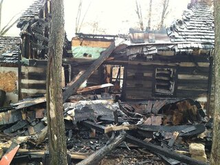Fire destroys mans Log Cabin he built.