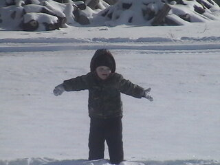 sam playing in the snow!