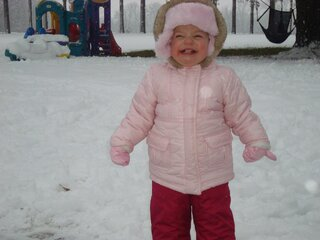 Catherine's first snow day.