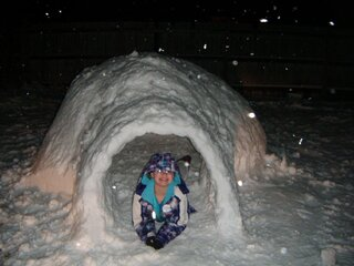 Riley Melton in her igloo!