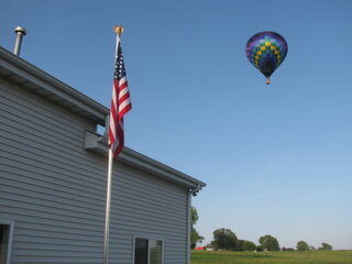 hot air baloon lands in my backyard!