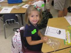 Abbey's first day of kindergarten.