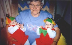 Grandma with Tweedle Dee and Tweedle Dum