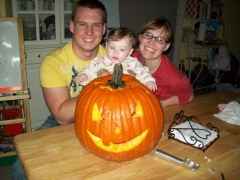 Andi's first pumpkin!