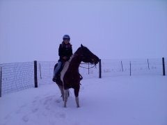 Lauren and Gracie's snowy ride