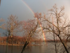 Rainbow Ends in Illinois River at Henry