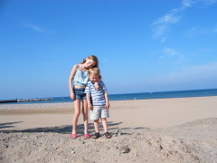 Cia and Colby at Lake Michigan