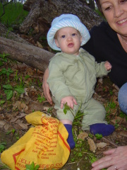 Josiah-9 mths old and finding mushrooms!