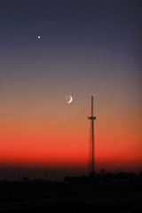 Spectacular view of Venus and the Moon.
