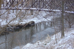 snowy scene at Ewing III foot bridge