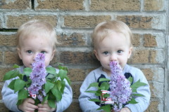Grandkids with Lilacs