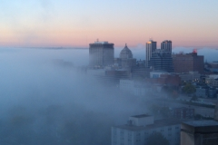 Fog rolling into downtown