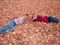 Siblings relaxing in the leaves.