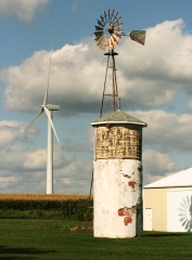 Old Windmill and New Wind Turbine