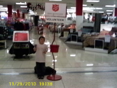 My grandson Zachary ringing the bell