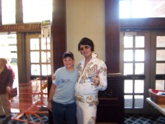 lee hall as elvis and me at the Riverside Community
