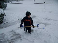 Helping daddy shovel snow