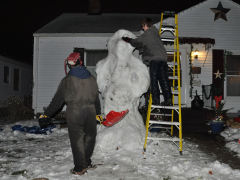 Andrew and Justin building our Snowman