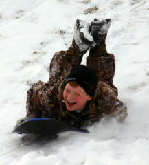 Winter Fun: Caleb Sledding