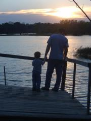 Daddy and Son at Sunset