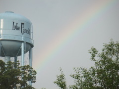Hail and a Rainbow over Lake Camelot